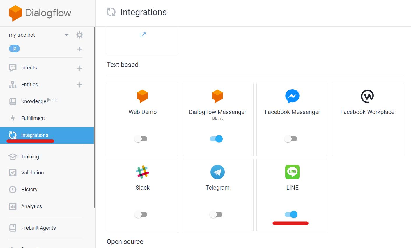 Dialogflow Integrations LINE