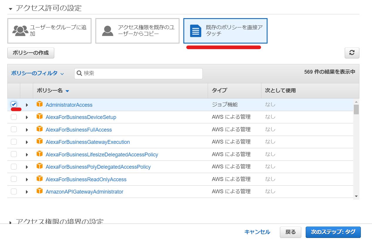 AWS IAMユーザー追加ポリシーの設定画面