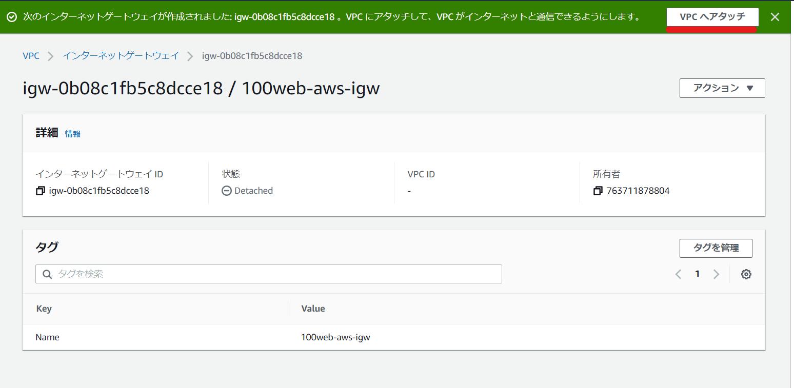 AWS インターネットゲートウェイをVPCにアタッチ